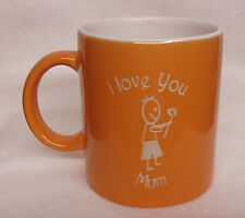 Orange Coffee Mug - I Love You Mum with a boy and a flower Sand Etched on it.