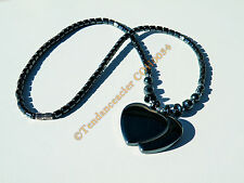 Collier Hématite Pendentif Double Coeurs Hématite