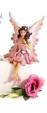 """FAIRY SHELF SITTER FIGURINE BUTTERFLY ON WRIST PINK DRESS 9.25"""" 098111024749"""