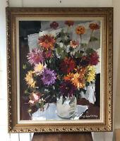 Vintage Signed Original French Floral Still Life Oil Painting by Gerald Ellis