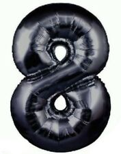 "34"" BLACK METALLIC JUMBO FOIL NUMBER 8 BALLOON"
