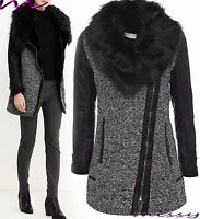 NEW Womens Grey Tweed JACKET FAUX LEATHER Ladies Long ZIP Coat Size 8 TO 16