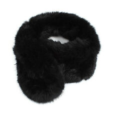New Women Rabbit Fur Short Collar Neck Warmer Scarf Warm Wrap Black HY