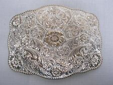 """1980s CRUMRINE RODEO with FANCY SCROLL SILVER PLATE GOLD BRONZE 6"""" BELT BUCKLE"""