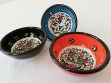 Traditional Turkish Hand Painted Ceramic x 3 Bowls. 3 inches Diameter.