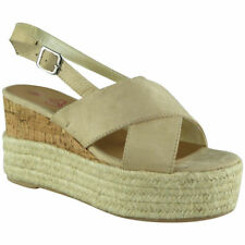 570ae85b930 Womens Ladies Cork Hessian Strappy Espadrilles Platform Shoes Wedge Sandals  Size