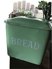 Antique Enamelware Green Apple Color Breadbox