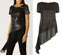 Coast NEW Eos Embellishment Sequin Asymmetric Tunic Top in Black Sizes 8 to 26