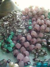 Vintage Italian Light Pink Opaline Macaroni Beaded Chandelier Chain Wedding