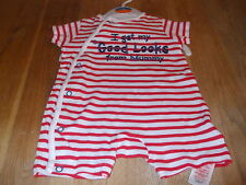 "MOTHERCARE STRIPED BODYSUIT ""I GET MY GOOD LOOKS FROM MUMMY"" POPPER SUIT NEWBORN"
