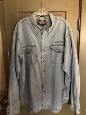 Harley Davidson Motorclothes Men's Long Sleeve Denim Shirt Blue Jean USED XL