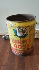 Vintage White Rose Motor Oil Can Bucket Tin Can Pail Canadian Oil Company French