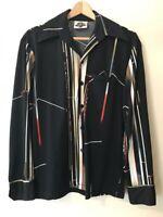Vtg 70s SPIRIT of CALIFORNIA Men's Black Abstract Mod POLYESTER Disco Shirt