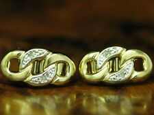 14kt 585 ORO orecchini a bottone con guarnizione in Diamante Orecchini// 2,1g