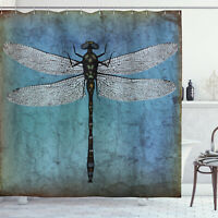 Grunge Shower Curtain Dragonfly Bug Turquoise Print for Bathroom 70 Inches Long