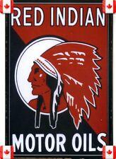 20X30cm Tin Metal Sign RED INDIAN MOTOR OIL VINTAGE GARAGE CAFE BAR PUB Wall 010