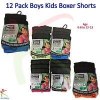 12 Pack Boys Kids Classic Sports Neon Boxer Shorts Soft Cotton Comfort Underwear
