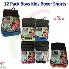 Boys Boxer Shorts 12 Pack Classic Sports Neon Band Cotton Trunks Underwear Brief
