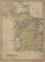 Michigan State Map Upper Peninsula Counties c. 1855 Boynton miniature map