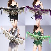 Bellydance Belly Dance Costume Hip Scarf Coins Fringe Indian Dancer Belt Velvet