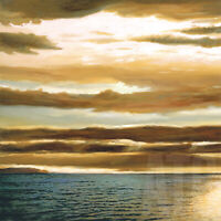"""REFLECTIONS ON THE SEA I (27x27"""") and II (27x27"""") by DAN WERNER 2PC SET CANVAS"""