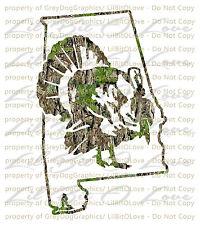 Camo Turkey Alabama State Outline Hunter Vinyl Decal Sticker Hunting Gobbler