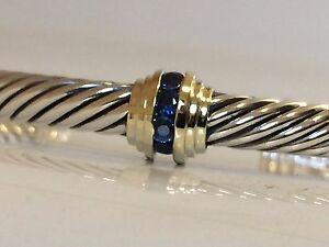 $895 DAVID YURMAN 14K GOLD, SS SINGLE STATION BLUE SAPPHIRE BRACELET