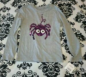 NWT - Girls Size S (6/6x) Small Halloween Sequin Flip Shirt Long Sleeve Spider