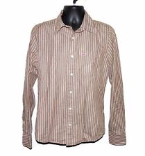 Hollister Co Brown and White Striped Casual Shirt Size M Long Sleeve 100% Cotton