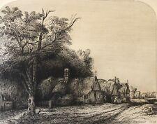 Rembrandt van Rijn paysage avec trois chalets gravé par Louis MARVY (1815-1850)