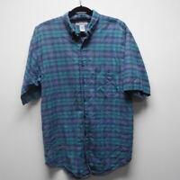 Vintage Nuovo jeanswear button down shirt plaid size L cotton