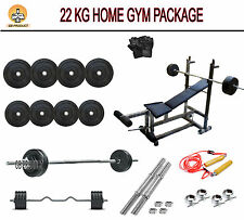 DEAL 22 KG GB PRODUCT HOME GYM SET + 6 IN 1 BENCH + 4RODS + ROPE + GLOVE