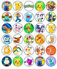 30 Pokemon Edible Paper Cupcake Cup Cake Topper Image Party Decoration