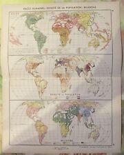 1962 Planisphère Races Humaines Densité de la Population Religions
