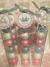 Baby Girl Shower pink and Silver Little Princess Party Favor Gumball Candy
