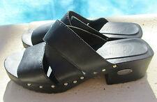 10 Candies CLOGS black leather wood heals wedges platforms medium studs ladies