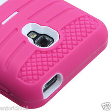 LG Optimus F6 Hybrid H Armor Case Skin Cover w/Stand D500 Pink White