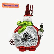 CERAMIC CHRISTMAS SNOWMAN CANDLE HOLDER TEA LIGHT STAR COLLAGLASS DECORATION