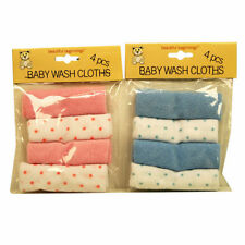 Set Of 4 Baby Wash Clothes Beautiful Beginnings Towels  New-born Baby Clothes