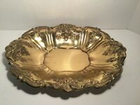 "Vintage Large Serving Tray/Bowl, Flowers, Gold, 16"" x 12"" x 2 1/2"""