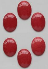 Lot of (6) Coral Red Mountain Jade 40x30mm Oval Cabochons