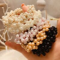 Women Elegant Pearl Hair Ties Beads Girls Scrunchies Rubber Bands Ponytail UK