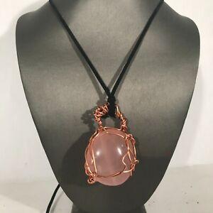 Rose Quartz Gemstone Copper Pendant  leather reiki Unisex Wire Wrapped Tumbled