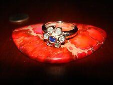Stunning Antique/Vintage 18K Solid White Gold Sapphire & Aquamarine Ring Sz-6
