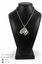Bedlington Terrier - silver plated necklace with silver cord, quality, Art Dog