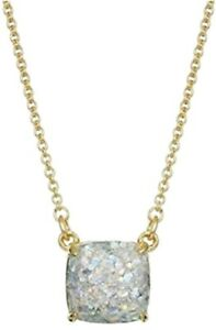KATE SPADE Opal Glitter Square Pendant Necklace