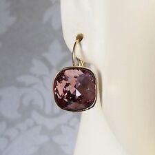 Antique Pink Golden Leverback Drop Earrings w/ Cushion Cut Swarovski Crystal