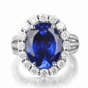 925 Sterling Silver & 3.57Ct Oval Shape AA Natural Tanzania Blue Tanzanite Ring