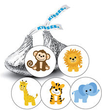 108 Jungle Animals Safari Baby Boy Shower Favor Stickers for Hershey Kisses