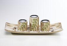 Dekoschale eckig mit drei Kerzenhaltern und Blattdesign